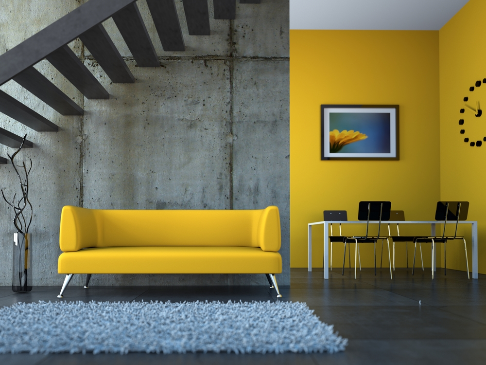 fun and funky modern condo loft with yellow sofa and yellow accent wall