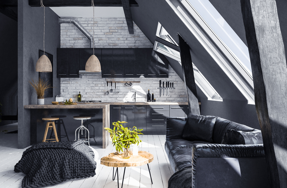 funky and dramatic loft condo with liberal use of black paint colour and furnishings